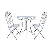 Romance Balcony Antique White Set - Half Round Table with 2 Folding Chairs