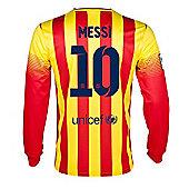 2013-14 Barcelona Away Long Sleeve Shirt (Messi 10) - Red