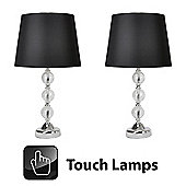 Pair of Crackle Glass Ball Touch Table Lamps in Chrome with Black Shades