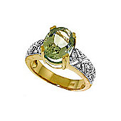 QP Jewellers Diamond & Green Amethyst Renaissance Ring in 14K Gold