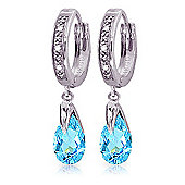 QP Jewellers Blue Topaz & SI-2 Diamond Droplet Huggie Earrings in 14K White Gold