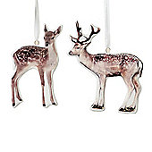 Set of Two Deer & Stag Print Ceramic Hanging Decorations