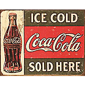 Coca-Cola Coke Vintage Sold Here Tin Sign