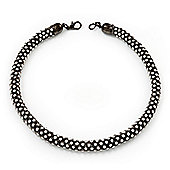 Swarovski Clear Crystal Choker Necklace In Gun Metal Finish - 39cm Length