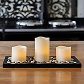 Set of 3 Wax Battery LED Candles With Rectangular Pebble Tray