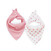 Mothercare Pink Butterfly Bandana Bibs- 2 Pack