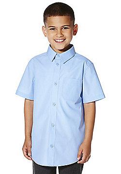F&F School 2 Pack of Boys Easy Iron Short Sleeve Shirts - Blue