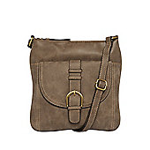 F&F Buckle Detail Distressed Cross-Body Bag One Size Grey