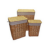 Set of 3 Natural Rectangular Split Willow Wicker Laundry Baskets