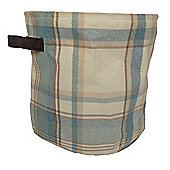 Duck Egg Wool look Check Fabric Storage Basket - Small