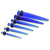 Blue Acrylic UV Ear Taper Six Piece Starter Set