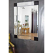 Modern Silver And Black Bevelled Venetian Wall Mirror 3Ft11x2ft8, 120Cm X 80Cm