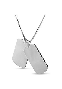 Urban Male Plain Stainless Steel Double Dog Tag Necklace with Ball Link Chain