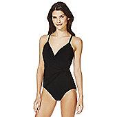 F&F Magic Drape Front Swimsuit - Black