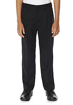 F&F School Boys Reinforced Knee Plus Fit Trousers - Black