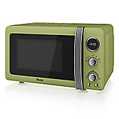 800W Retro Digital Microwave Green
