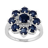Gemondo Sterling Silver 3.05ct Natural Blue Sapphire & Diamond Floral Cluster Ring