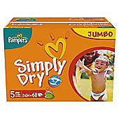 Pampers Simply Dry Jumbo Pack Junior 68