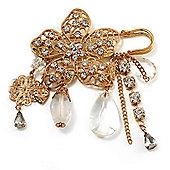 'Filigree Flower, Crystal Tassel & Acrylic Bead' Charm Safety Pin Brooch (Gold Tone)
