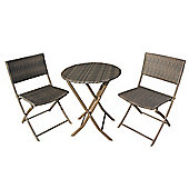 Biarritz Brown Folding Bistro Set - 60cm Table with 2 Folding Chairs (boxed set)