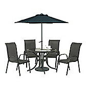 Cayman 6pc Black Round Stacking Set - 102cm Round Anthracite Table, 4 Stacking Chairs, 2.5m Parasol