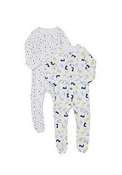 F&F 2 Pack of Dinosaur Sleepsuits - White & Green