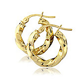 9ct Yellow Gold Classic Twisted Hoops Earring
