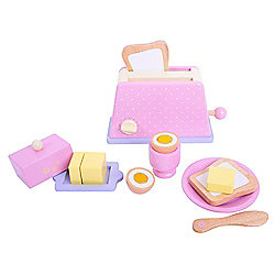 Bigjigs Toys BJ395 Wooden Play Food Candy Floss Breakfast Set