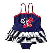 Jakabel Baby/Girls Butterfly Swimsuit - Navy & Red