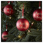 Red Merry Christmas Baubles, 4 pack