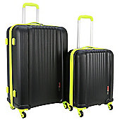 Swiss Case 4 Wheel Spinner Ez2c 2Pc Strong Abs Suitcase / Luggage Set Black/ Neon