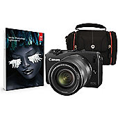 Canon EOS M Black CSC Camera Kit inc EF-M 18-55mm Lens, Case and Adobe Lightroom