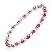 QP Jewellers 5in 8.0ct Ruby Infinite Tennis Bracelet in 14K White Gold