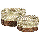 Tesco Brown Dipped 2 Set Storage Basket