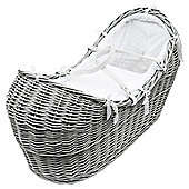 Grey Wicker Moses  Pod with White Honeycomb