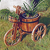 Bicycle - Solid Wood Garden Flower Planter / Pot - Burntwood