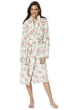 F&F Rose Print Stitch Detail Dressing Gown - Green & Pink