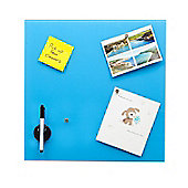 Glass Magnetic Memo Board (Baby Blue 40cm x 40cm) magnets, eraser & dry wipe pen