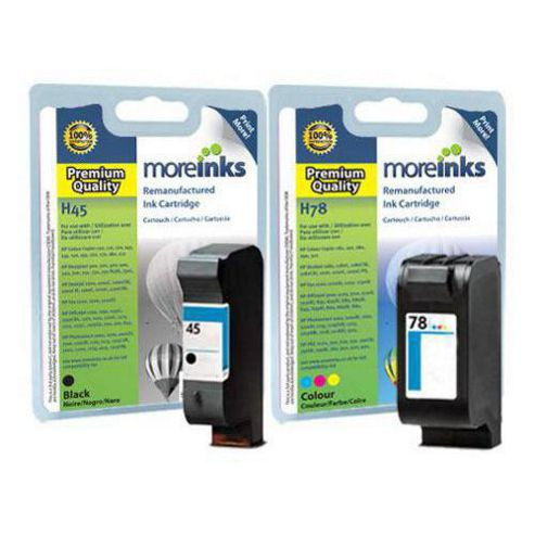 Moreinks 2 Remanufactured Ink Cartridges to Replace HP 45 / HP 78 - Black and Tri-Colour