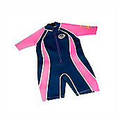 Jakabel Junior Girls Front Zip Shorty Wetsuit Navy/Pink - Pink