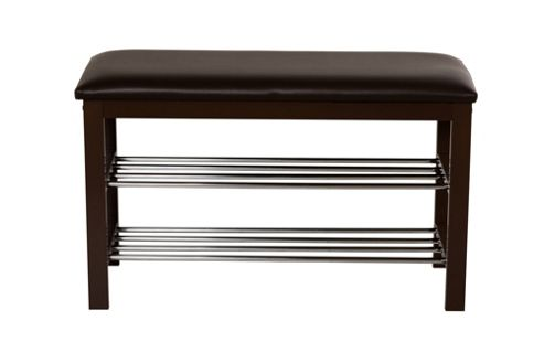 buy 3 tier shoe rack with seat cushion brown from our. Black Bedroom Furniture Sets. Home Design Ideas