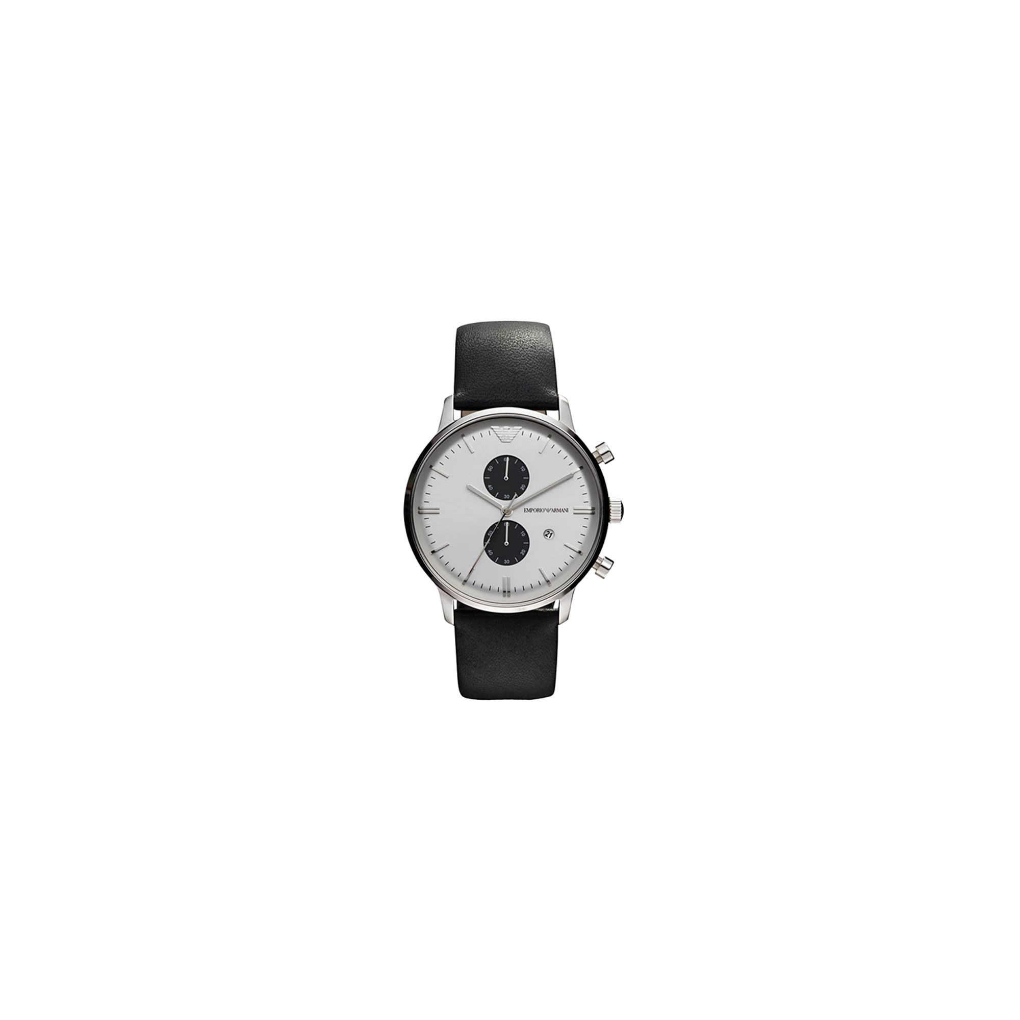 Emporio Armani Gianni Black Leather Chronograph Strap Watch AR0385 at Tesco Direct