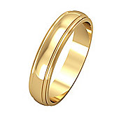 Jewelco London 9ct Yellow Gold - 4mm Essential D-Shaped Track Edge Band Commitment / Wedding Ring -