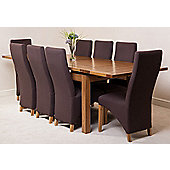 Farmhouse Rustic Solid Oak Extending 200 - 280 cm Dining Table with 8 Brown Lola Fabric Chairs