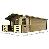 13ft x 16ft (4m x 5m) Apex Log Cabin - Double Glazing (44mm Wall Thickness)