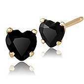 Gemondo 9ct Yellow Gold 0.52ct Black Onyx 4 Claw Set Heart Stud Earrings 4x4mm