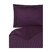 Luxury Hotel Collection Satin Stripe Double Duvet Cover Set Blackberry