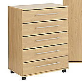 Ideal Furniture New York Five Drawer Chest - Oak