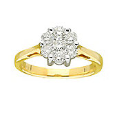 9ct Gold 0.75 Carat Cluster Diamond Ring