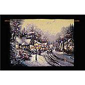 Thomas Kinkade Village Christmas Illuminated Hanging Tapestry